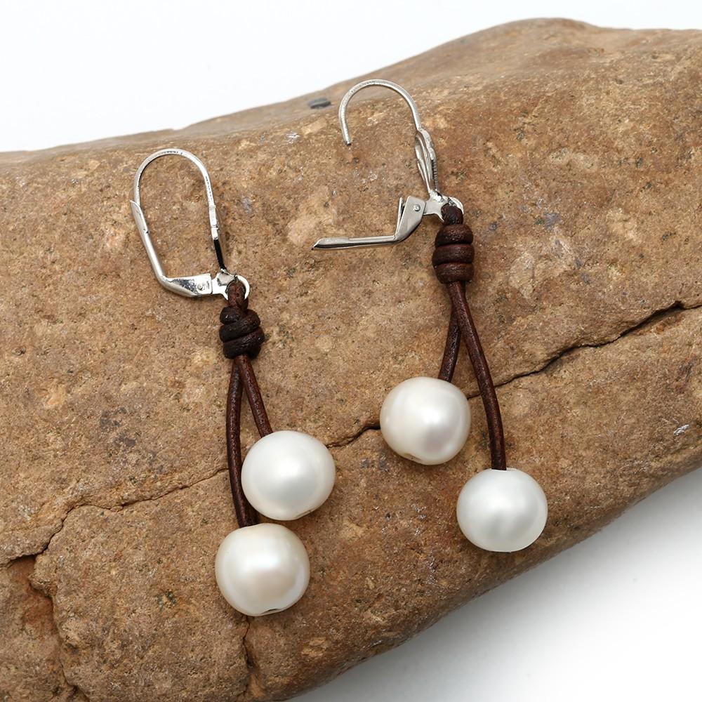 Aobei Pearl  1011mm Of The Potato White Pearls Earring Women Leather  Earrings Ear Pendants With Genuine Freshwater Pearls,etse091
