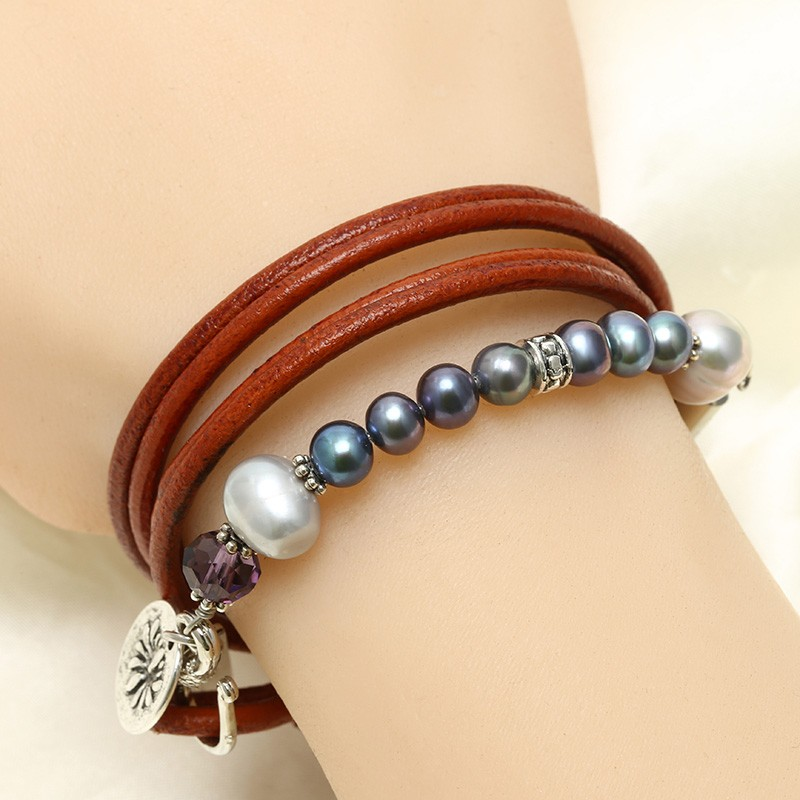 handmade leather pearl bracelet wrapping three laps with. Black Bedroom Furniture Sets. Home Design Ideas