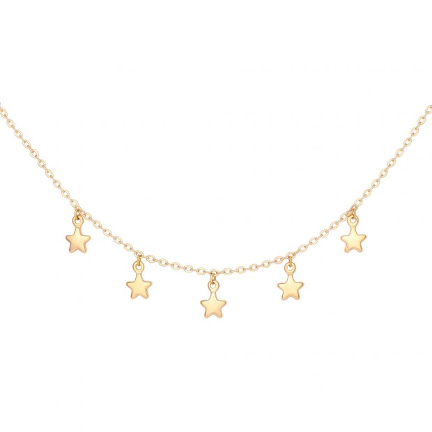 Aobei Pearl,Shiny Star Pendant Necklace 18K Gold Chain Choker Handmade Adjustable Jewelry for Women Necklace, ETS-S1022