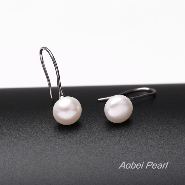 Aobei Pearl, Handmade Earring with AAA Button Freshwater Pearl and Copper Plated with White Gold, Dangle Earring, Pearl Earring, ETS-E022