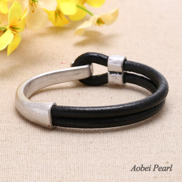 Aobei Pearl -  Handmade Bracelet made of Genuine Leather Cord and Zine-alloy Clasp with Nickel Free & Lead free, Fashion Bracelet for Women / Men, ETS-B299