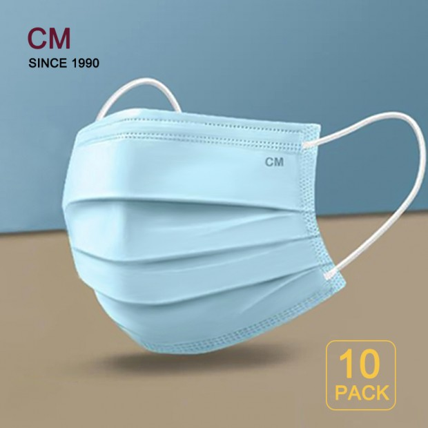 10 PACK Disposable Face Masks for Adults, Earloop Respirator Mask for Personal Health, Mouth Cover 3-Layer Protect