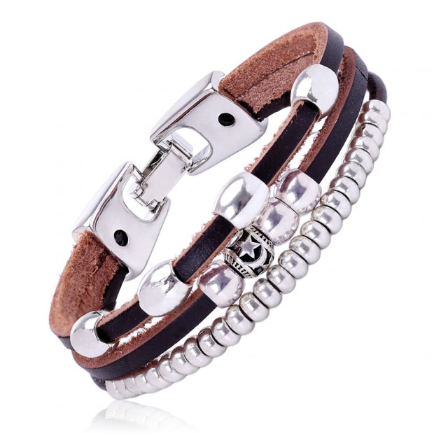 Aobei Pearl, Handmade Personalized Bracelet with Zinc-alloy Accessories and Genuine Leather Cord, Leather Cord Bangle, Wrap Bracelet, ETS-B297