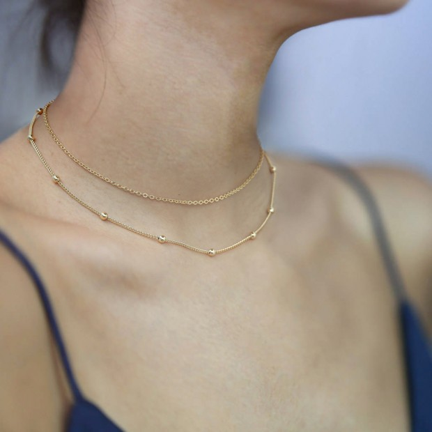 Aobei Pearl 18K Gold Satellite Chain Choker Necklace Cable Chain Link Necklace Handmade Adjustable Jewelry for Women, Layering Necklace, ETS-S1008
