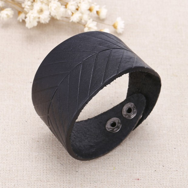 Aobei Pearl - Leather leaf bracelet, leather band bracelet, leather wrap bracelet, ETS - B383