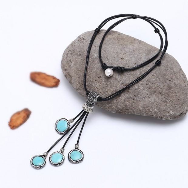 Aobei Pearl - Unique Design Handmade Crystal Pearl Necklace on Genuine Leather Cord with Turquoise Stone ETS-S520