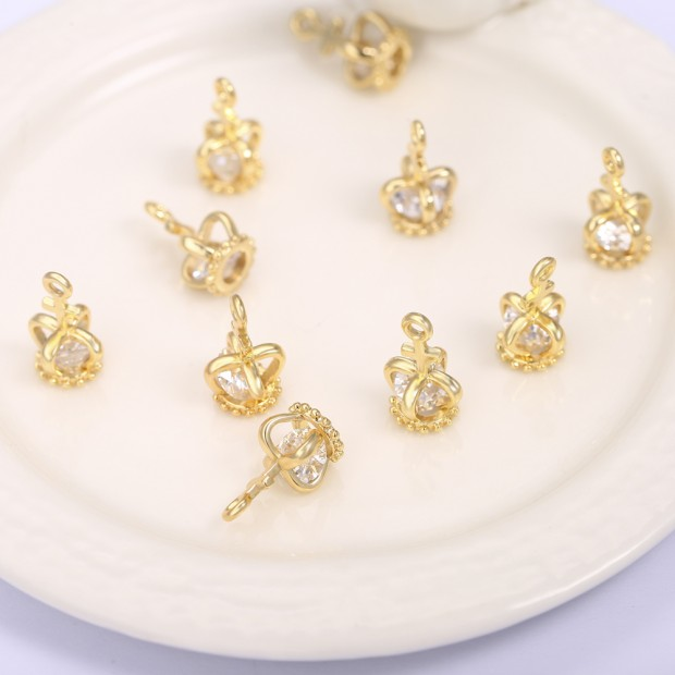 Aobei Pearl ,6 PCS From The Sale, 18K Gold-Plated King Hat Shape Inlaid with Zircon Pendants,Dangle Pendant For Jewelry Making, Jewelry Findings, DIY Jewelry Material, Making Supplies ETS-K1176
