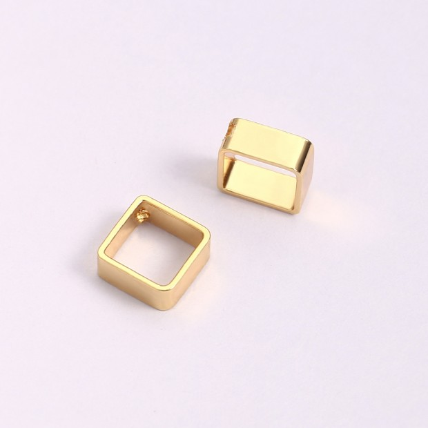Aobei Pearl, 14 PCS from the Sale, 18K Gold-Plated New Hollow Cuboid Shape Jewelry Making Pendant, Jewelry Findings, DIY Jewelry Material, ETS-K1275