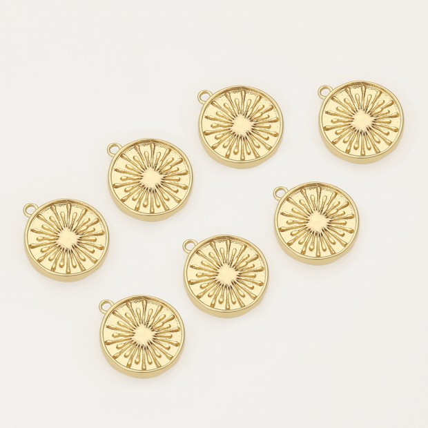 Aobei Pearl ,4PCS From The Sale, 18K Gold Plated sun coin Charm Pendant For Jewelry Making, Jewelry Findings, DIY Jewelry Material, Making Supplies ETS-K499