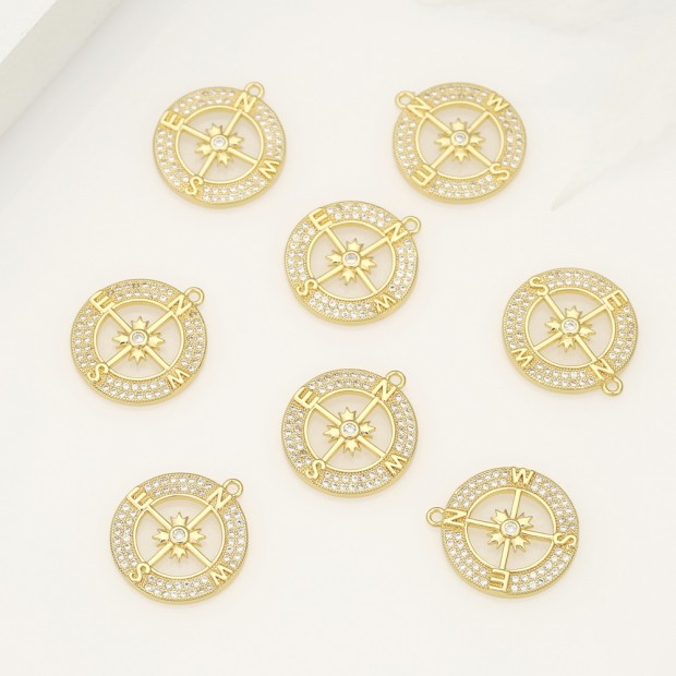 Aobei Pearl ,4PCS From The Sale, 18K Gold Plated CZ Compass Charm Pendant For Jewelry Making, Jewelry Findings, DIY Jewelry Material, Making Supplies ETS-K500