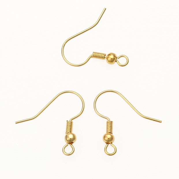 Aobei Pearl, 40 Pieces ( 20 Pairs ) form the Sale, 18K Gold Earring Hooks for Jewelry Making, Jewelry Findings, DIY Handmade Earring Accessories, ETS-K545