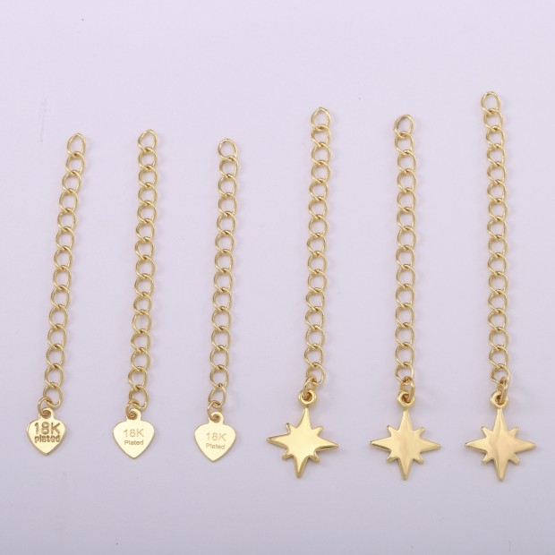 Aobei Pearl,Made of 18k gold-plated pendant, 10PCS 18K gold-plated extension chain, the tail is explosive star or heart, jewelry extension chain.SS-K618