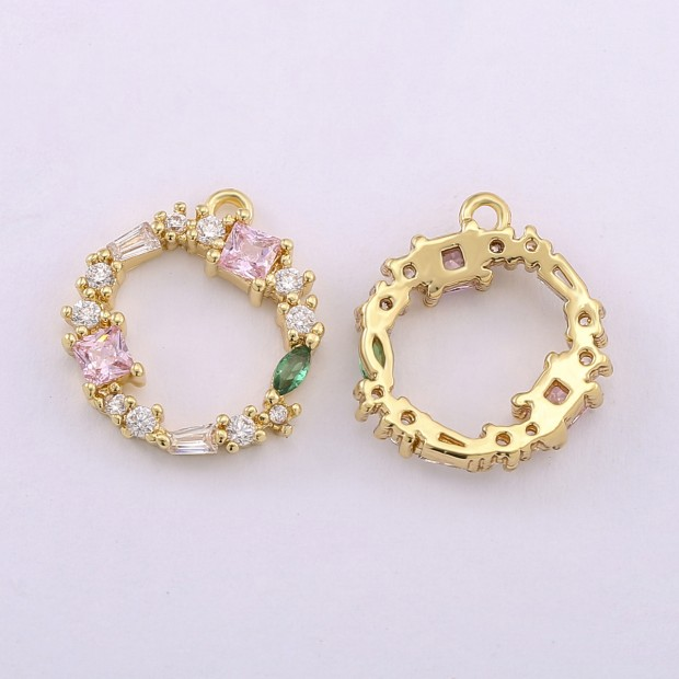 Aobei Pearl,3pcs 18k gold-plated round pendant, with diamonds around, earring pendant, hollow pendant, jewelry.ETS-K619
