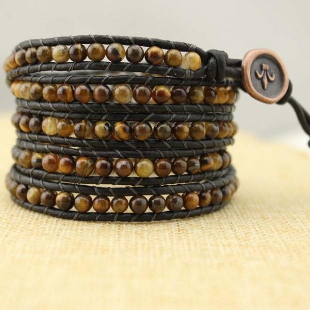 4MM round wolf stone bracelet, women leather bracelet,natural wolf stone beads ,long bracelet for women lady girls,ETS-B113