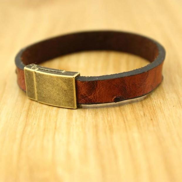 Men's Personalized Leather Bracelet,Men's Bracelet,Personalized bracelet,ID bracelet,Bark pattern,Antique copper clasp, Fathers ETS - B311