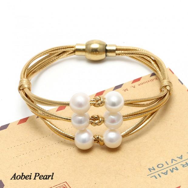 Aobei Pearl Handmade Bracelet made of Genuine Leather Cord and Freshwater Pearl, Pearl Bracelet, Wrap Bracelet, ETS-B368