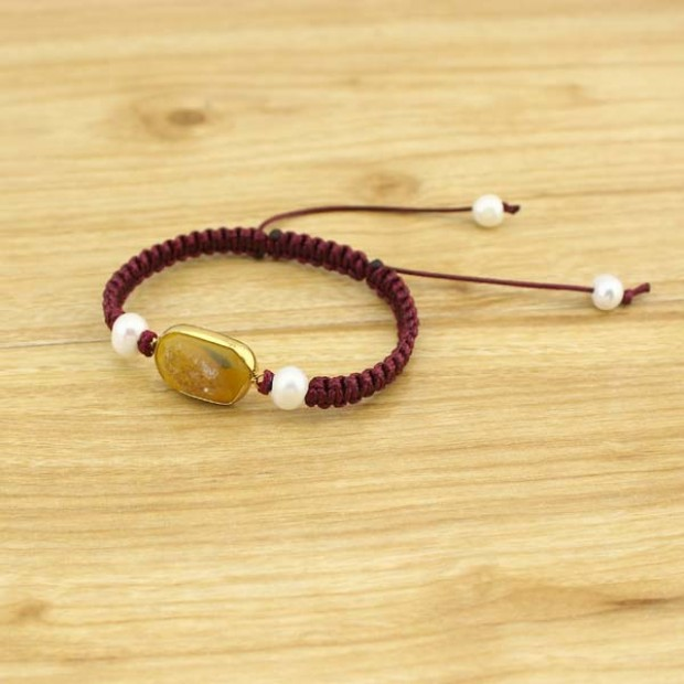 Aobei Pearl Handmade Gemstone Bracelet, Braided Leather Bracelet, Adjustable Pearl Bracelt for Women, ETS-B369