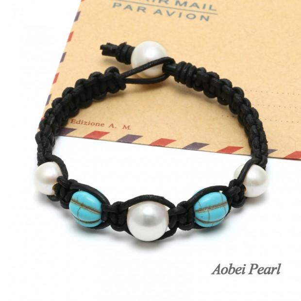 Aobei Pearl, Handmade Freshwater Pearl, Turquoise & Genuine Leather Cord Bracelet, Braided Bracelet, Wrap Bracelet, Pearl Bracelet, ETS-B370