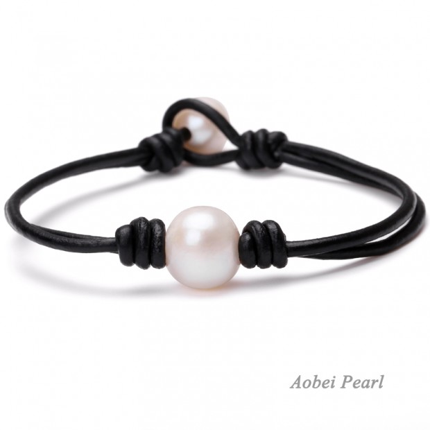 Aobei Pearl - Handmade Bracelet with Freshwater Pearl and Genuine Leather, Peacock Blue Potato Pearl Bracelet, ETS-B463
