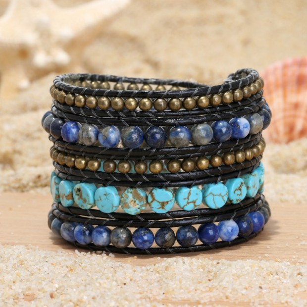 Aobei Pearl, Handmade Wrap Bracelet with 6 mm Natural Stones, 6 mm Turquoise, 4 mm Bronze Beads and Real Leather Cord, Handmade Bracelet, Turquoise Bracelet, Leather Bracelet, Natural Stone Bracelet, ETS-B495