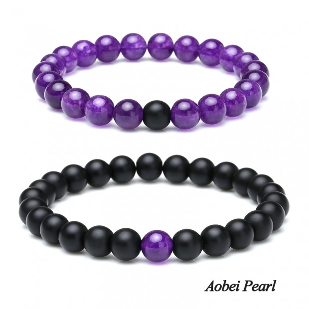 Aobei Pearl Handmade Flexible Bracelet made of 8 mm Natural Agate and Amethyst Beads, Beaded Bracelet, Couple Bracelet, ETS-B541