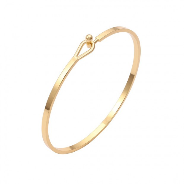 Aobei Pearl 18K Gold Bangle for Women Girls Fashion Gold Bracelet, Stackable Bracelet, ETS-B588