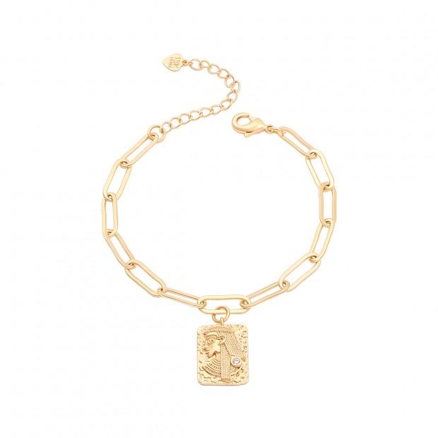 Aobei Pearl 18k Gold Oval Chain Bracelet CZ Cleopatra Rectangle Medallion Bracelet Handmade Adjustable Bracelet for Women, Gold Charm Jewelry for Women ETS-B593