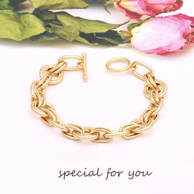 Aobei Pearl 18k Gold Chunky Oval Chain Bracelet Dainty OT Toggle Bracelet Handmade Gold Bracelet Anklet for Girls, Chain Link Jewelry for Women ETS-B594