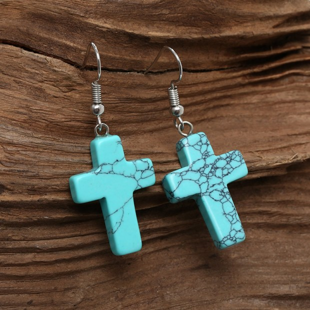 Aobei Pearl, Handmade Earring with Turquoise or Natural Stone in Cross Shape for Fashion Girls ! Turquoise Earring, Cross Earring, ETS-E247