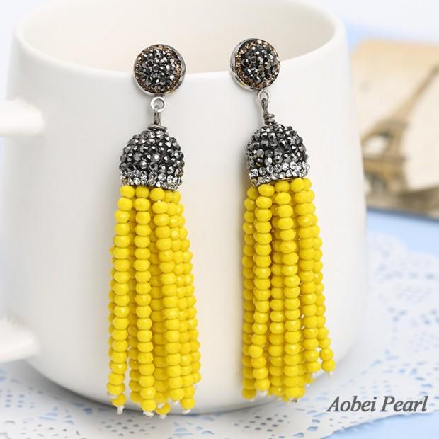 Aobei Pearl Handmade Beaded Tassel Earring with Hand-embed Diamond Post, Crystal Earring, Beaded Earring, ETS-E278