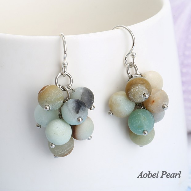 Aobei Pearl Handmade Earring with 8 mm Natural Amazonite and 925 String Silver Earring Hook, Silver Earring, Beaded Earring, ETS-E279