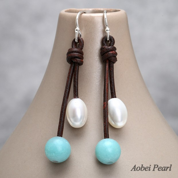 Aobei Pearl Handmade Earring made of 925 String Silver Earring Hook, Freshwater Pearl, Genuine Leather Cord and Natural Amazonite, Pearl Earring, Dangle Earring, ETS-E280