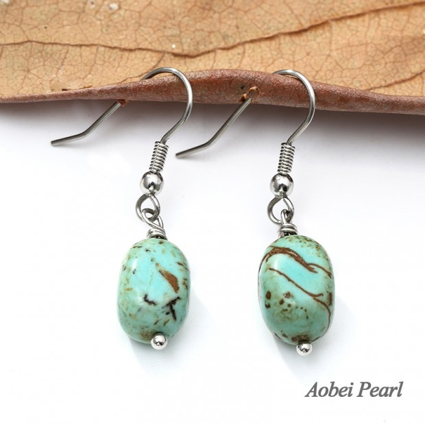 Aobei Pearl Handmade Earring made of Natural Turquoise and Stainless Steel Earring Hook, Dangle Earring, Natural Turquoise Earring, ETS-E281