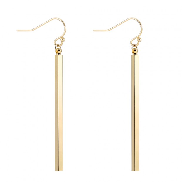 Aobei Pearl Dainty Vertical Bar Dangle Earring made of 18K Gold Plated Copper, Handmade Drop Earring for Women, ETS-E285