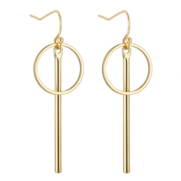 Aobei Pearl Dainty Vertical Bar Dangle Earring made of 18K Gold Plated Copper, Handmade Karma Circle Drop Earring for Women, ETS-E286