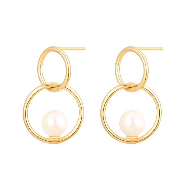 Aobei Pearl Interlocking Earring, Karma Circle Dangle Earring, Dainty Gold Stud Earring, Handmade Shell Pearl Jewelry for Women, ETS-E294