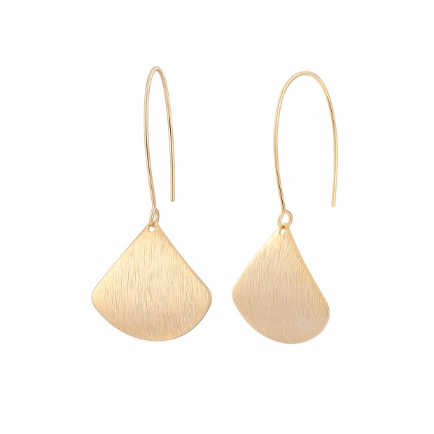 Aobei Pearl Dainty 18K Gold Brushed Ginkgo Biloba Dangle Earring, Gold Charm Drop Earring for Women, Hoop Earring, ETS-E299