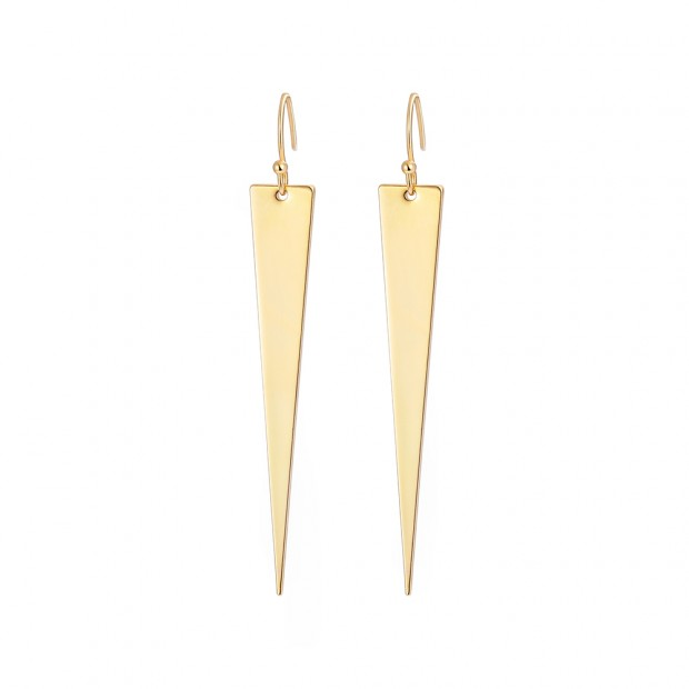 Aobei Pearl Long Trangle Dangle Earring, Dainty Gold Earrings for Women, Handmade Geometric Drop Earrings, ETS-E304