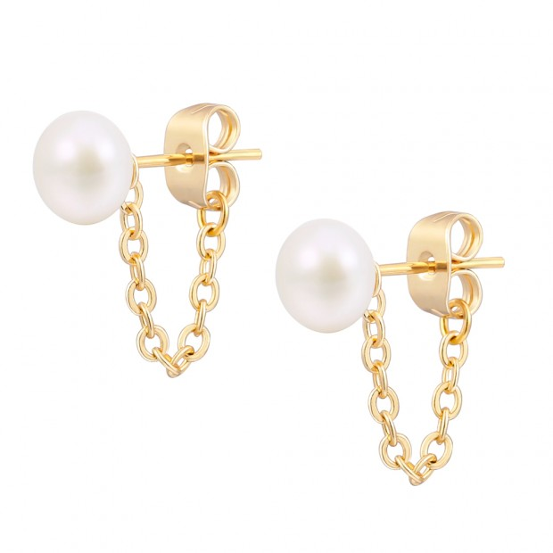 Aobei Pearl Cultured Freswhater Pearl Stud Earring Dainty Gold Chain Dangle Earring Handmade Pearl Jewelry for Women, ETS-E306