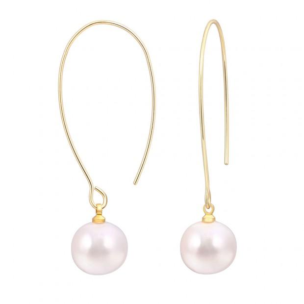 Aobei Pearl ,handmade pearl earrings,11-12MM white AAA potato freshwater pearl and 18K gold-plated ear hook earrings,Jewelry for Women,ladies gifts ETS-E317