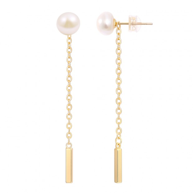 Aobei Pearl ,7.5-8.0MM white button pearl plus, 18K gold plated chain pendant earrings,rectangular ventical bar,Jewelry Fashion  Earrings,Jewelry for Women,ladies gifts ETS-E319