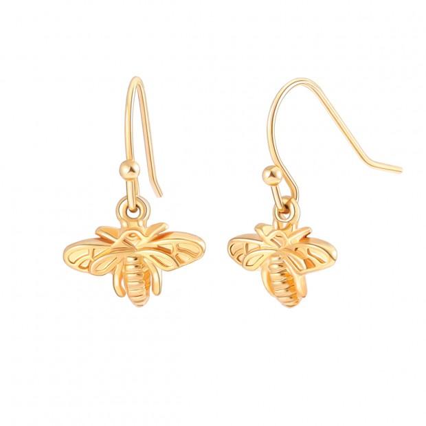 Aobei Pearl Dainty Bee Drop Dangle Earring, 18K Gold Charm Earring for Women Girls, Fashion Gold Hook Earring, ETS-E327