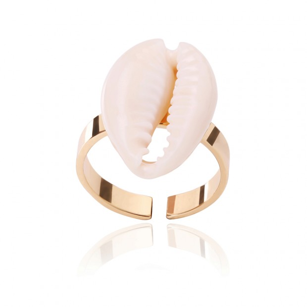 Aobei Pearl Seashell Ring Adjustable 18K Gold Plated Ring Handmade Open Ring for Women, Seashell Bridal Ring, Fashion Werdding Jewelry, DIY Beach Ring, Party Ring, ETS-J059