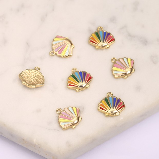 Aobei Pearl, 6 PCS from the Sale, 18K Gold-Plated Multicolor Fan-Shaped Jewelry Making Pendants for Jewelry Making, Jewelry Findings, DIY Jewelry Material, ETS-K1295
