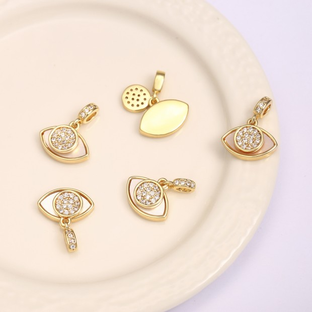 Aobei Pearl, 2 PCS from the Sale, 18K Gold-Plated CZ Eye Shape Micro-Inlaid Zircon Pendant for Jewelry Making, Jewelry Findings, DIY Jewelry Material, ETS-K1296