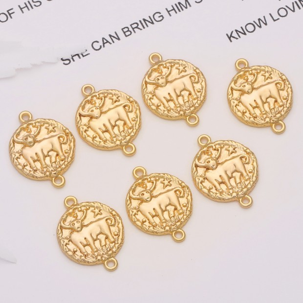 Aobei Pearl, 10 PCS from the Sale, 18K Gold Plated Taurus Disc Charm for Jewelry Making, Jewelry Findings, DIY Jewelry Material, ETS-K305
