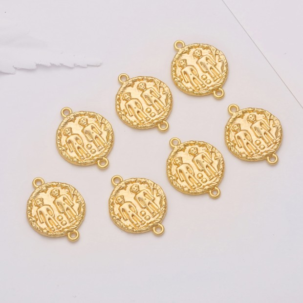 Aobei Pearl, 10 PCS from the Sale, 18K Gold Plated Gemini Disc Charm for Jewelry Making, Jewelry Findings, DIY Jewelry Material, ETS-K310