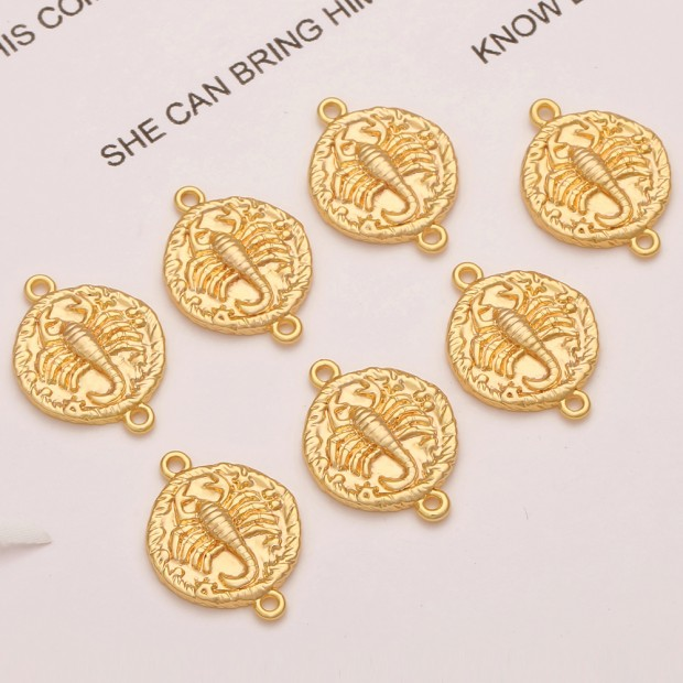 Aobei Pearl, 10 PCS from the Sale, 18K Gold Plated Scorpio Disc Charm for Jewelry Making, Jewelry Findings, DIY Jewelry Material, ETS-K311