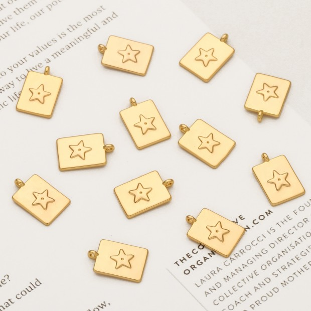 Aobei Pearl, 10 PCS from the Sale, 18K Gold Plated Star Pattern Retangle Charm for Jewelry Making, Jewelry Findings, DIY Jewelry Material, ETS-K337