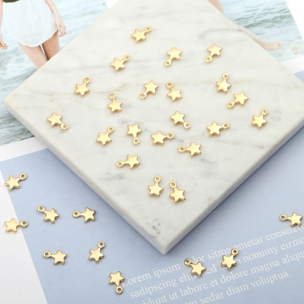 Aobei Pearl, 30 PCS from the Sale, 18K Gold Plated Star Charm for Jewelry Making, Jewelry Findings, DIY Jewelry Material, ETS-K344